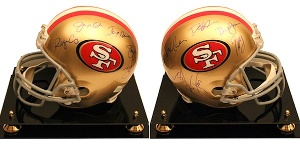 Charity Auction Items - Autographed NFL Team Legends Helmets - 49ers Legends