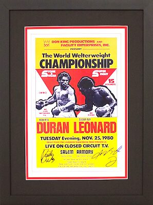 Charity Auction Items - Autographed Championship Boxing Posters - Duran Leonard
