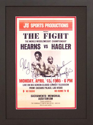 Charity Auction Items - Autographed Championship Boxing Posters - Hagler Hearn