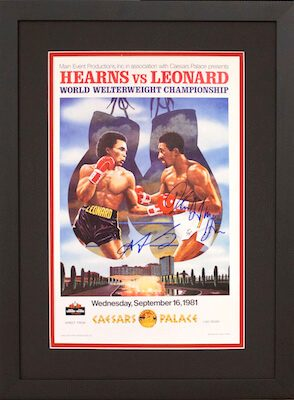 Charity Auction Items - Autographed Championship Boxing Posters - Hearns Leonard