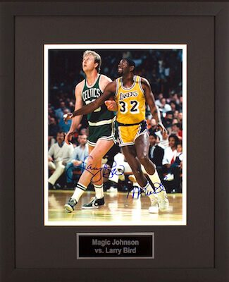 Charity Auction Items - Autographed Sports Memorabilia - Magic Johnson and Larry Bird 11x14 Photo