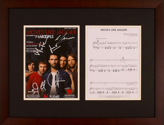 Charity Auction Items - Autographed Sheet Music - Maroon 5 Sheet Music