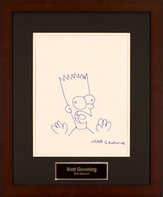 Charity Auction Items - Autographed 11×14 Celebrity Sketches - Matt Groening Bart Simpson Sketch