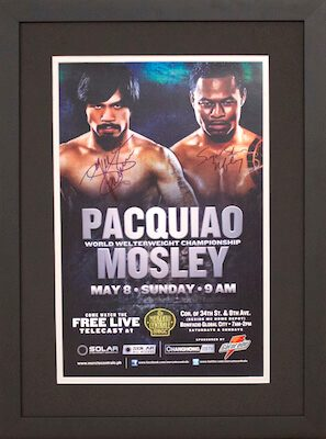 Charity Auction Items - Autographed Championship Boxing Posters - Pacquiao Mosley Boxing Poster