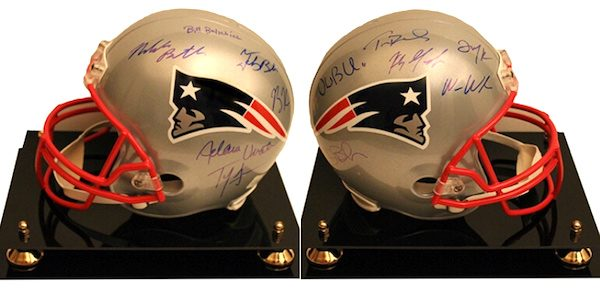 Charity Auction Items - Autographed NFL Team Legends Helmets - Patriots Legends