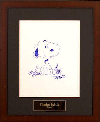Charity Auction Items - Autographed 11×14 Celebrity Sketches - Snoopy Sketch