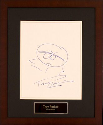 Charity Auction Items - Autographed 11×14 Celebrity Sketches - Trey Parker Eric Cartman Sketch