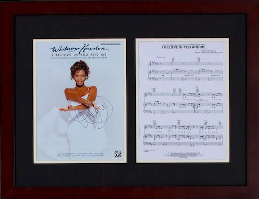 Charity Auction Items - Autographed Sheet Music - Whitney Houston Sheet Music