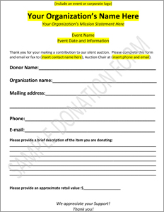 Downloadable charity auction donation form template for Charity pledge form template